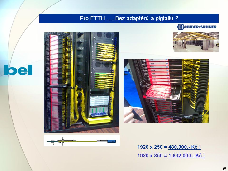 20 Pro FTTH …. Bez adaptérů a pigtailů 1920 x 250 = 480.000,- Kč ! 1920 x 850 = 1.632.000,- Kč !