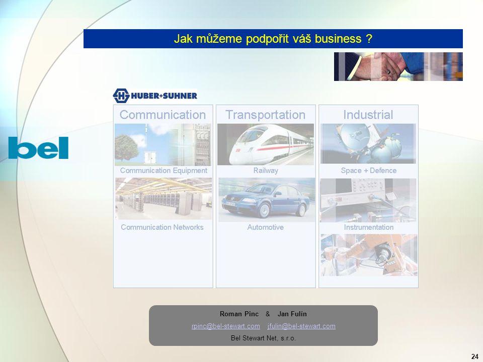 24 Jak můžeme podpořit váš business ? Roman Pinc & Jan Fulín rpinc@bel-stewart.comrpinc@bel-stewart.com jfulin@bel-stewart.comjfulin@bel-stewart.com B