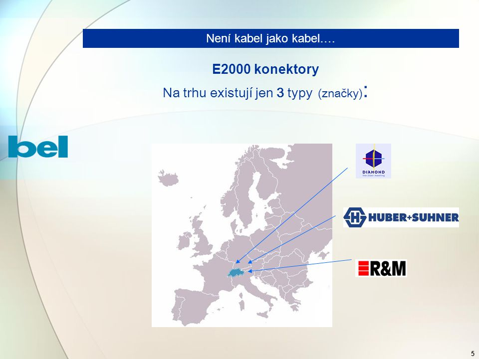 5 E2000 konektory Na trhu existují jen 3 typy (značky) : Není kabel jako kabel….