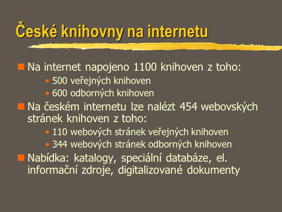 České knihovny na internetu Na internet napojeno 1100 knihoven z toho: 500 veřejných knihoven 600 odborných knihoven Na českém internetu lze nalézt 45