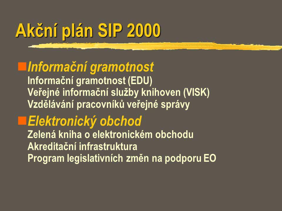 Akční plán SIP 2000 Informační gramotnost Informační gramotnost (EDU) Veřejné informační služby knihoven (VISK) Vzdělávání pracovníků veřejné správy E