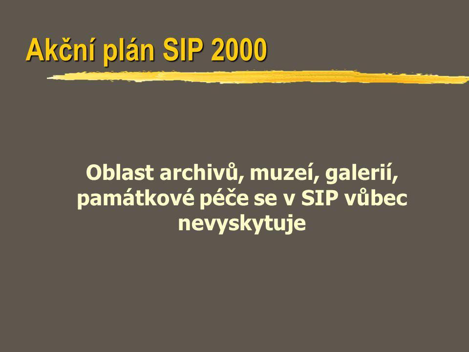 Akční plán SIP 2000 Oblast archivů, muzeí, galerií, památkové péče se v SIP vůbec nevyskytuje
