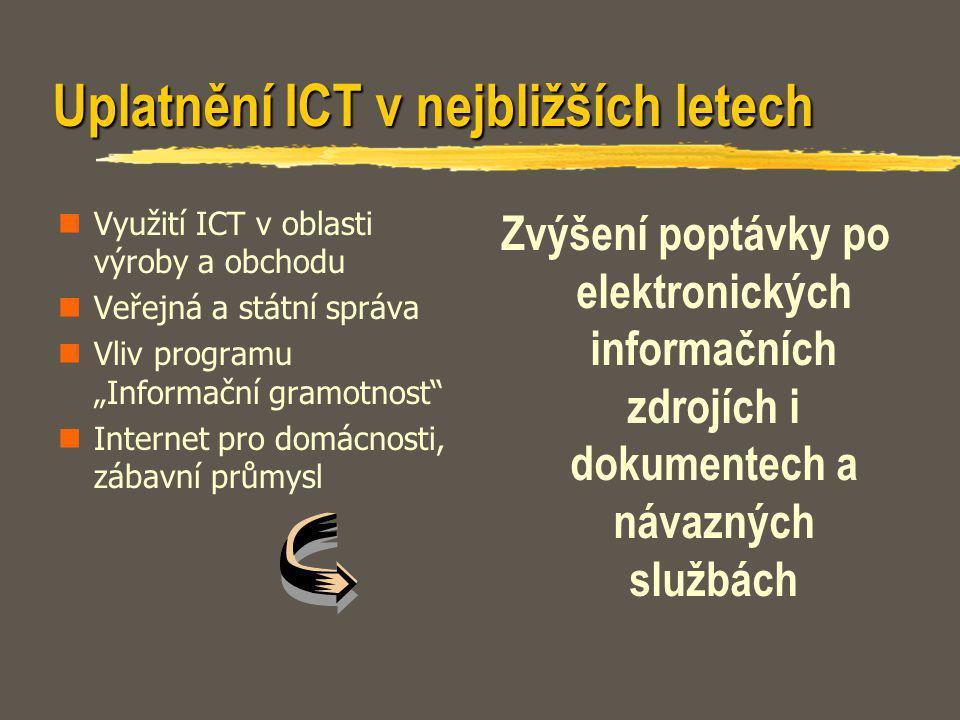 """Uplatnění ICT v nejbližších letech Využití ICT v oblasti výroby a obchodu Veřejná a státní správa Vliv programu """"Informační gramotnost"""" Internet pro d"""