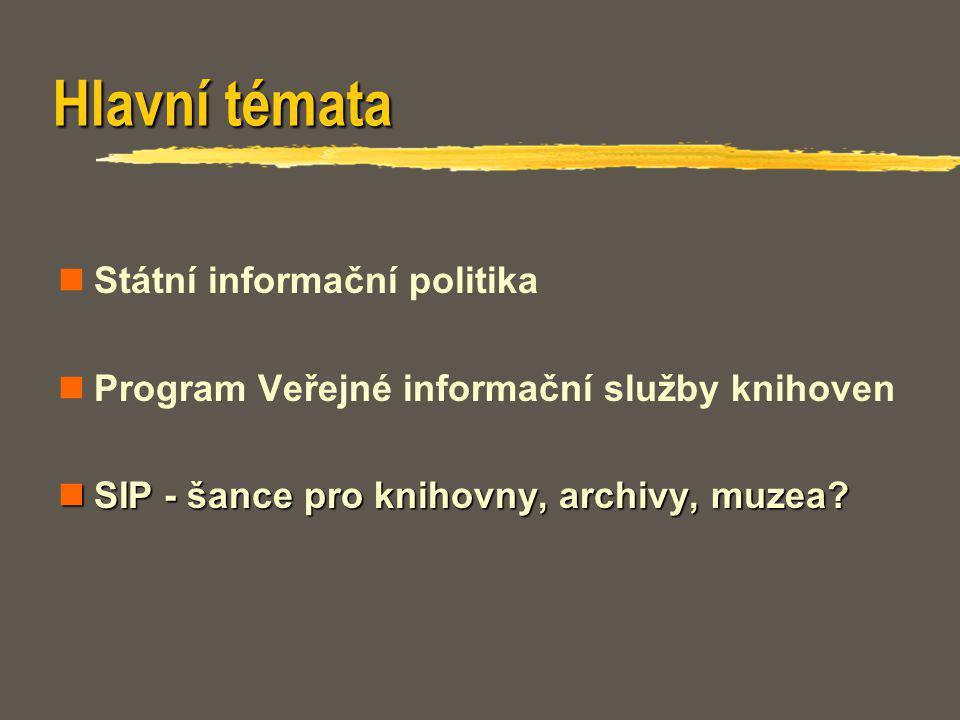 Hlavní témata Státní informační politika Program Veřejné informační služby knihoven SIP - šance pro knihovny, archivy, muzea? SIP - šance pro knihovny