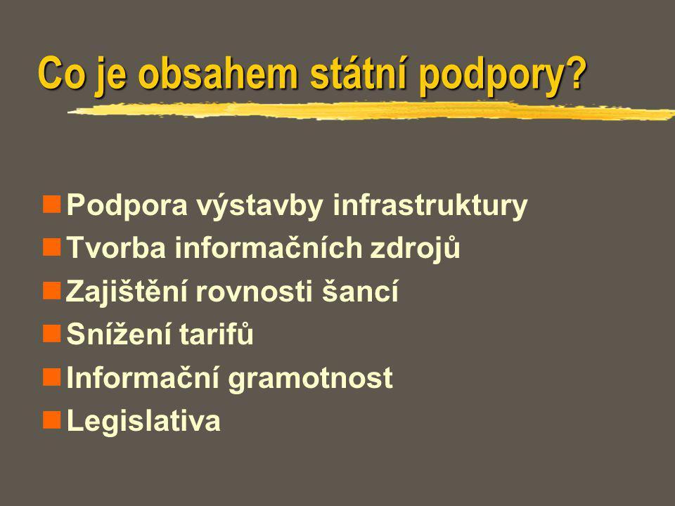 Co je obsahem státní podpory? Podpora výstavby infrastruktury Tvorba informačních zdrojů Zajištění rovnosti šancí Snížení tarifů Informační gramotnost