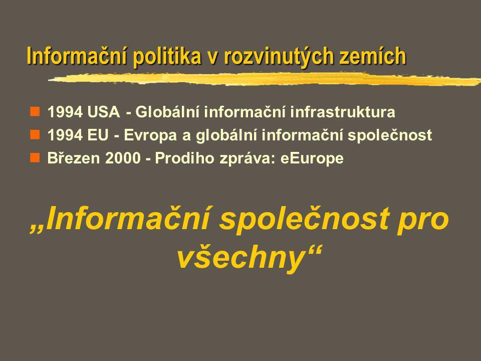 Informační politika v rozvinutých zemích 1994 USA - Globální informační infrastruktura 1994 EU - Evropa a globální informační společnost Březen 2000 -