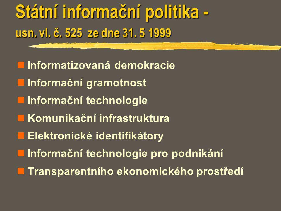 Státní informační politika - usn. vl. č. 525 ze dne 31. 5 1999 Informatizovaná demokracie Informační gramotnost Informační technologie Komunikační inf