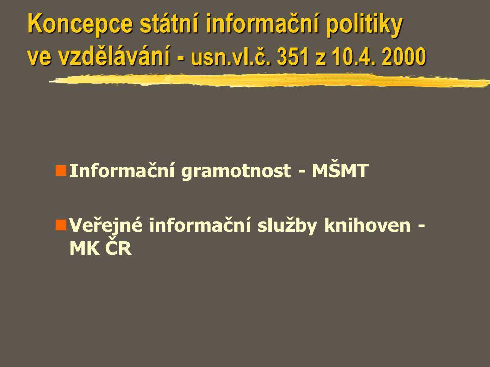 Koncepce státní informační politiky ve vzdělávání - usn.vl.č. 351 z 10.4. 2000 Informační gramotnost - MŠMT Veřejné informační služby knihoven - MK ČR