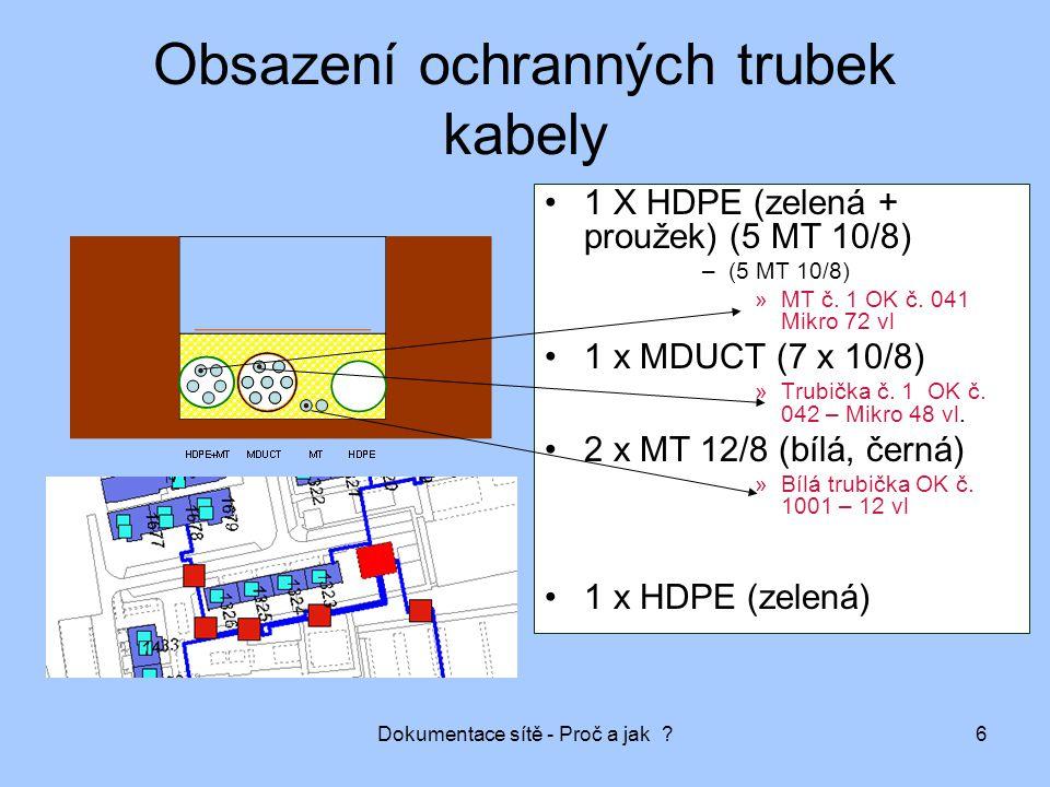 Dokumentace sítě - Proč a jak ?6 Obsazení ochranných trubek kabely 1 X HDPE (zelená + proužek) (5 MT 10/8) –(5 MT 10/8) »MT č. 1 OK č. 041 Mikro 72 vl