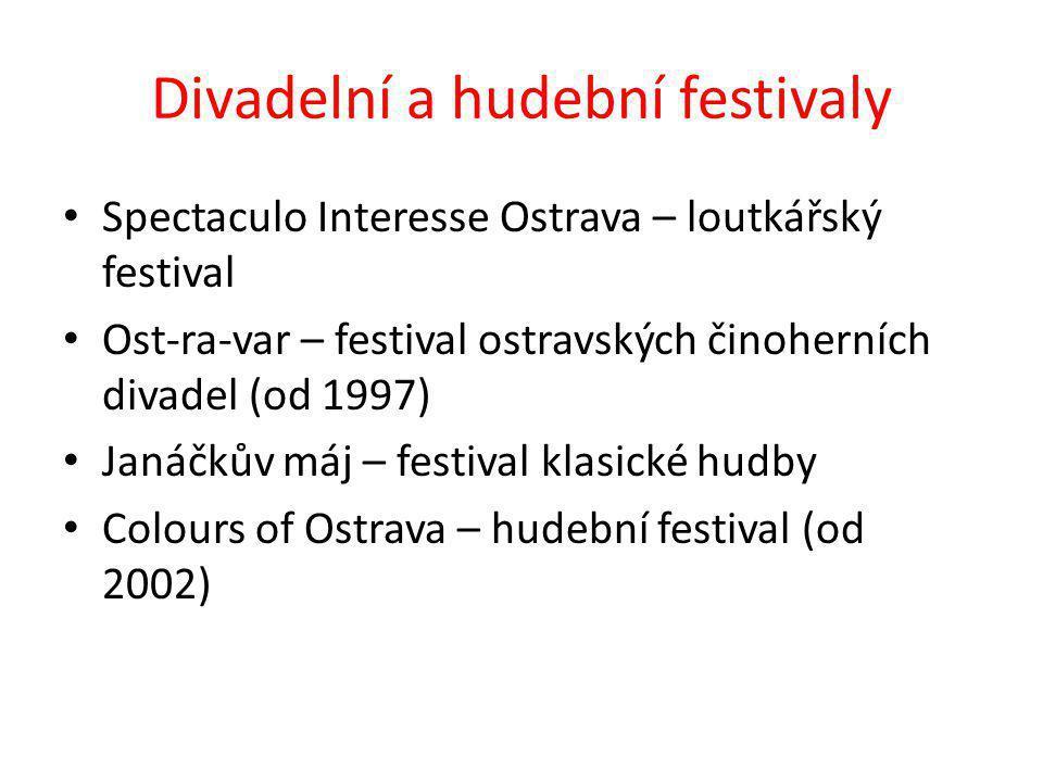 Divadelní a hudební festivaly Spectaculo Interesse Ostrava – loutkářský festival Ost-ra-var – festival ostravských činoherních divadel (od 1997) Janáčkův máj – festival klasické hudby Colours of Ostrava – hudební festival (od 2002)
