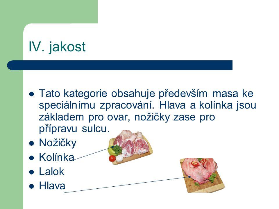 Dělení vepřového pro výrobu VL I – libové maso z kýt a kotlety.