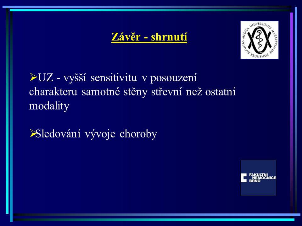 Závěr - shrnutí  UZ - vyšší sensitivitu v posouzení charakteru samotné stěny střevní než ostatní modality  Sledování vývoje choroby