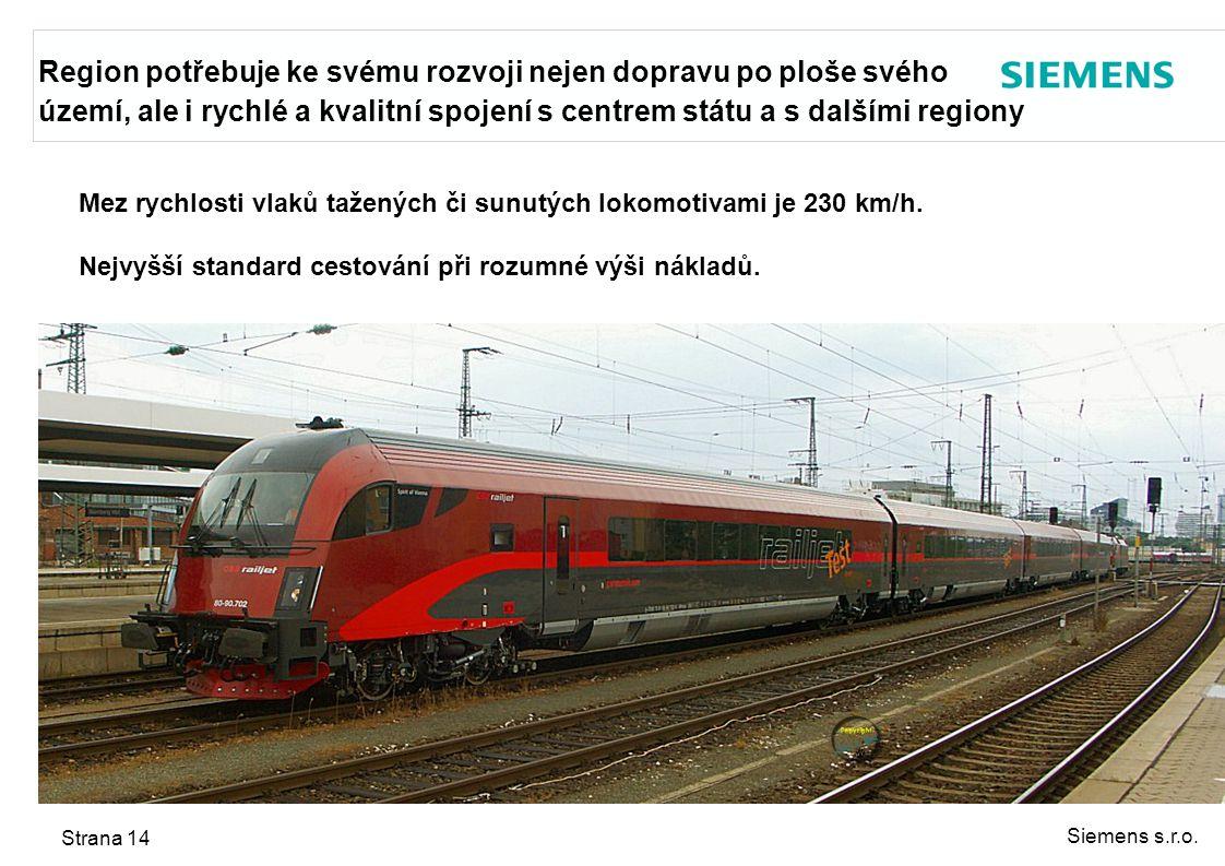 Siemens s.r.o. Strana 14 Mez rychlosti vlaků tažených či sunutých lokomotivami je 230 km/h. Nejvyšší standard cestování při rozumné výši nákladů. Regi