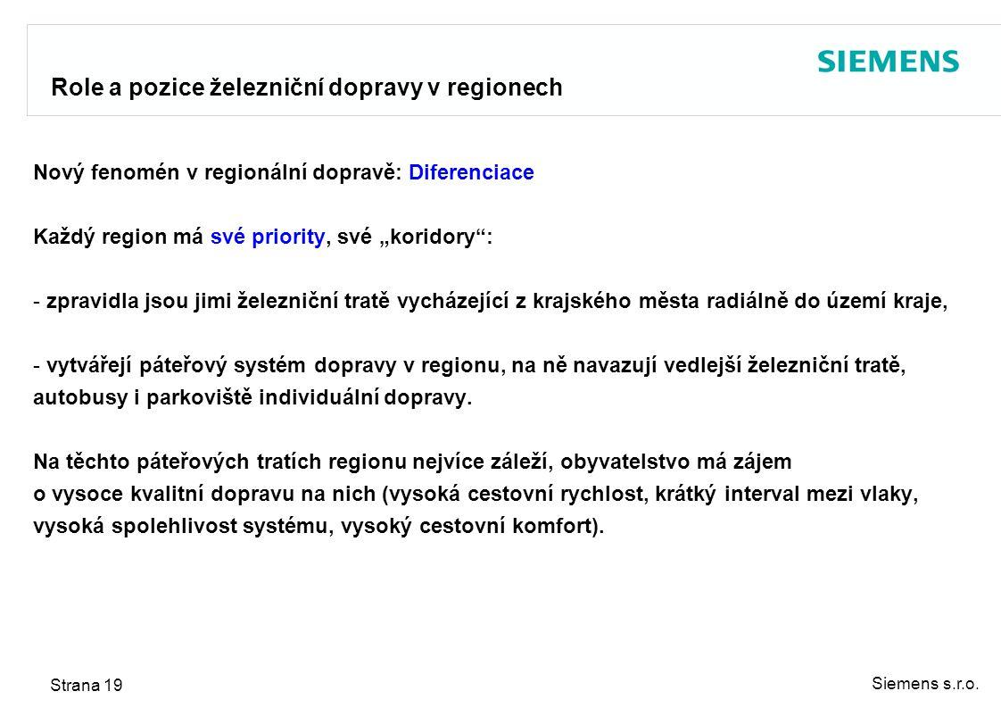 Siemens s.r.o. Strana 19 Role a pozice železniční dopravy v regionech Nový fenomén v regionální dopravě: Diferenciace Každý region má své priority, sv