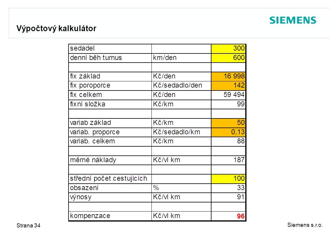 Siemens s.r.o. Strana 34 Výpočtový kalkulátor
