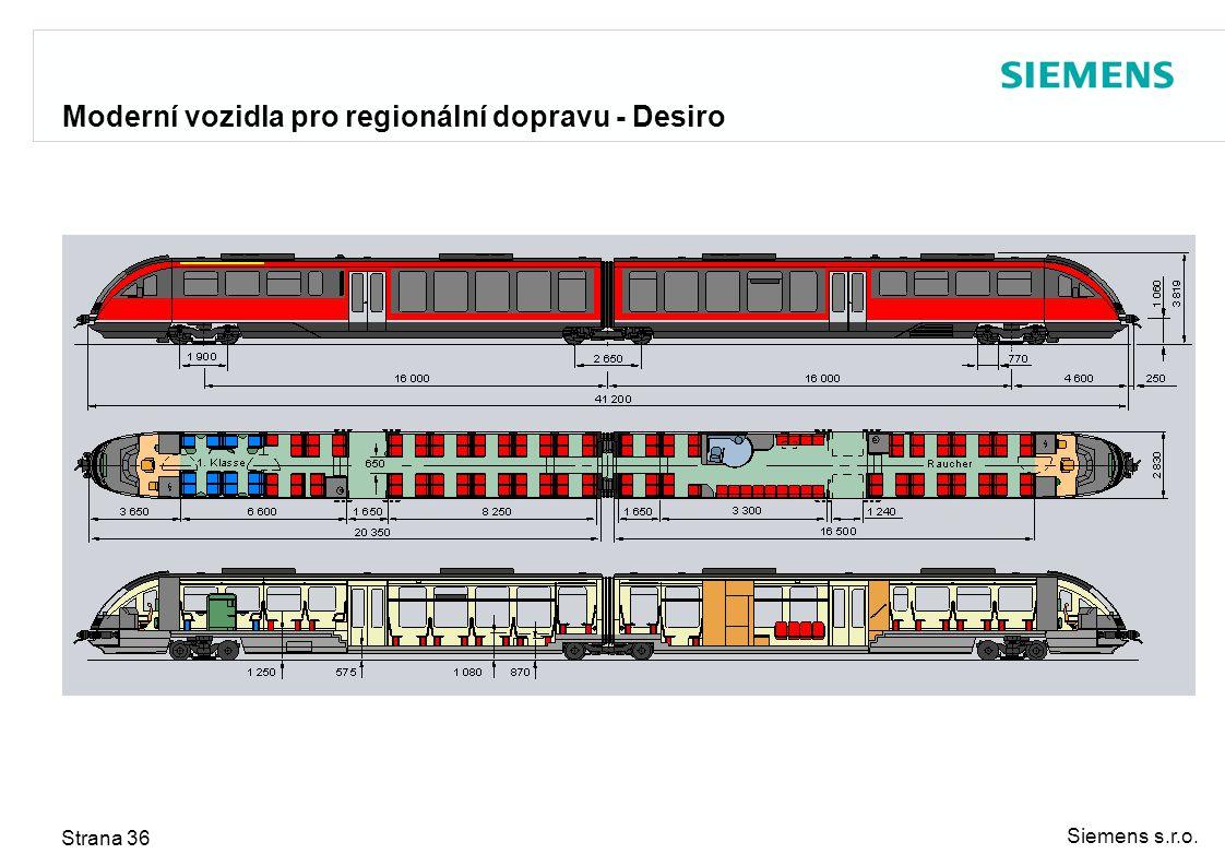 Siemens s.r.o. Strana 36 Moderní vozidla pro regionální dopravu - Desiro