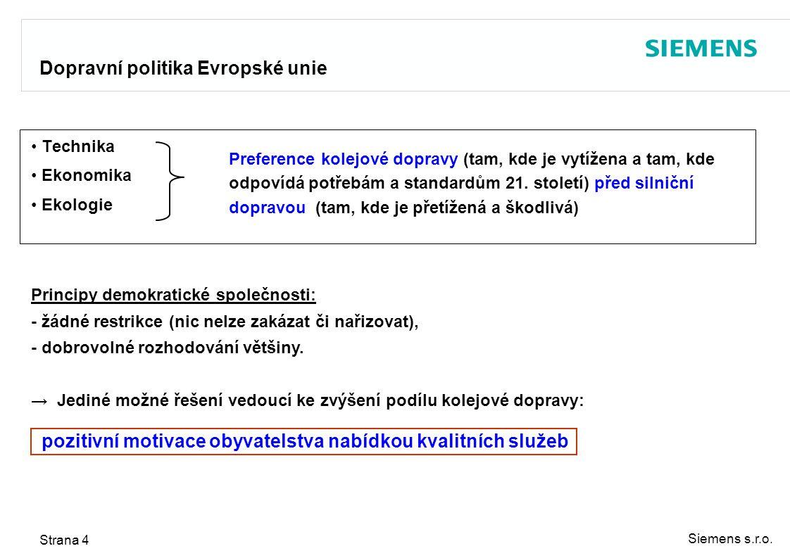Siemens s.r.o. Strana 4 Technika Ekonomika Ekologie Principy demokratické společnosti: - žádné restrikce (nic nelze zakázat či nařizovat), - dobrovoln