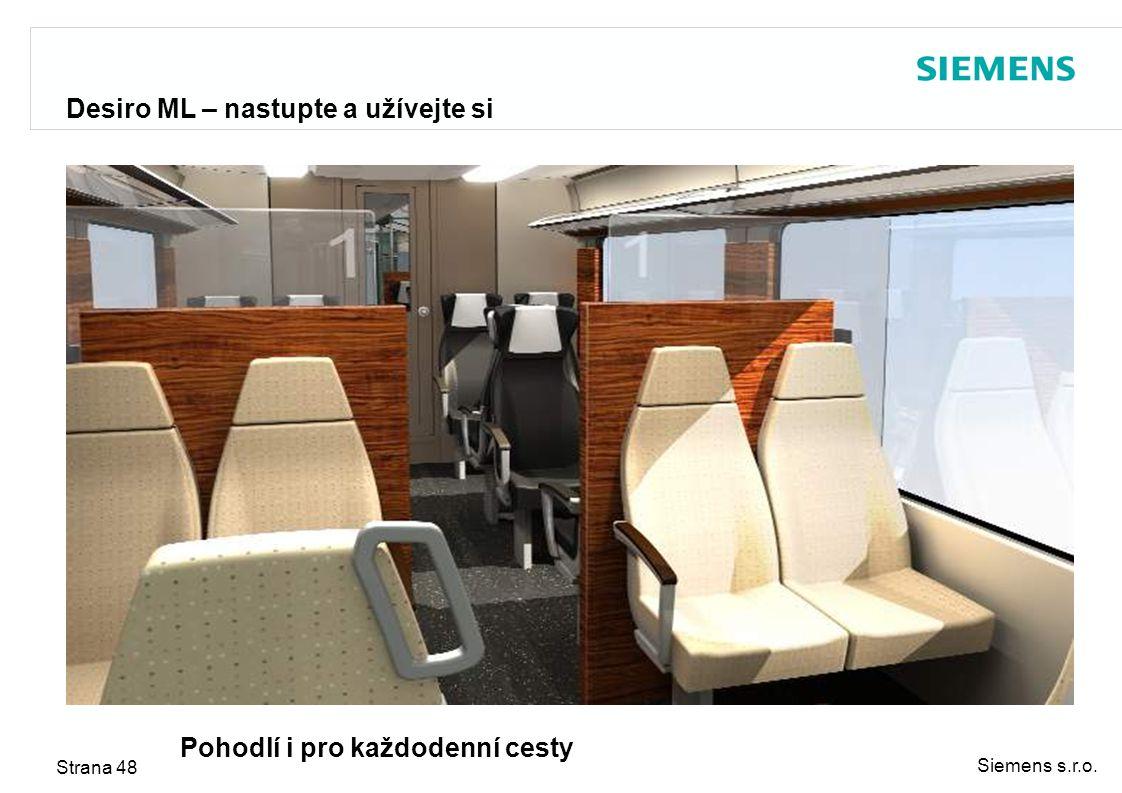 Siemens s.r.o. Strana 48 Desiro ML – nastupte a užívejte si Pohodlí i pro každodenní cesty