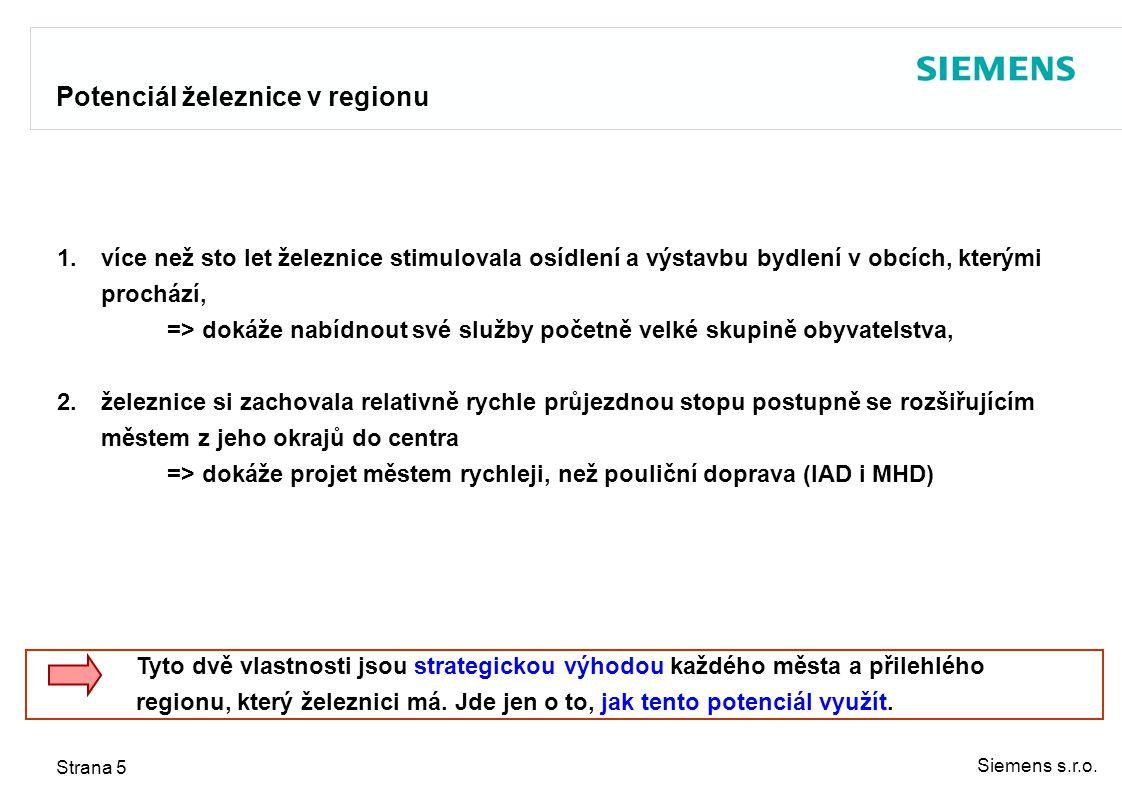 Siemens s.r.o. Strana 5 Potenciál železnice v regionu 1.více než sto let železnice stimulovala osídlení a výstavbu bydlení v obcích, kterými prochází,