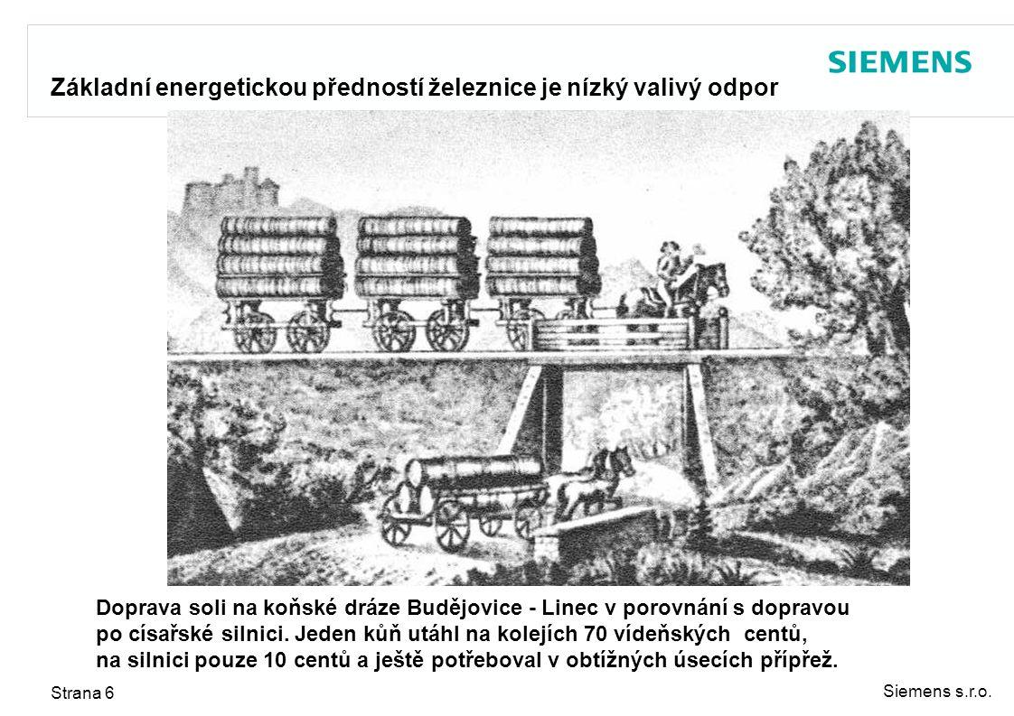 Siemens s.r.o. Strana 6 Základní energetickou předností železnice je nízký valivý odpor Doprava soli na koňské dráze Budějovice - Linec v porovnání s