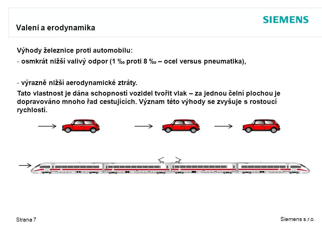 Siemens s.r.o. Strana 7 Valení a erodynamika Výhody železnice proti automobilu: - osmkrát nižší valivý odpor (1 ‰ proti 8 ‰ – ocel versus pneumatika),