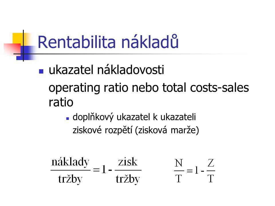 Rentabilita nákladů ukazatel nákladovosti operating ratio nebo total costs-sales ratio doplňkový ukazatel k ukazateli ziskové rozpětí (zisková marže)