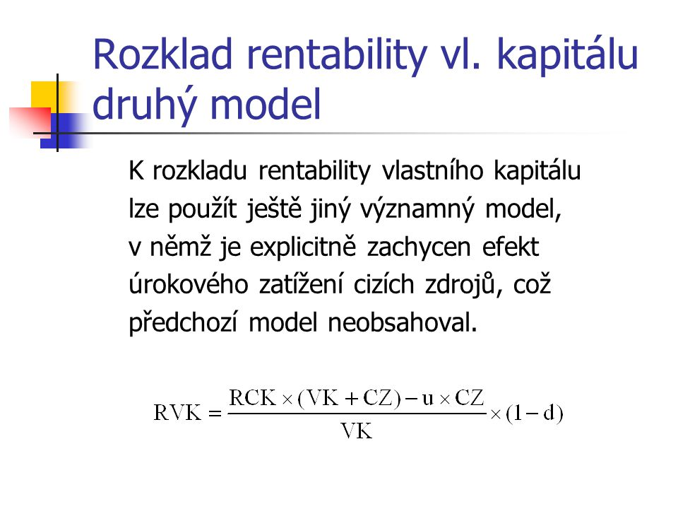 Rozklad rentability vl.