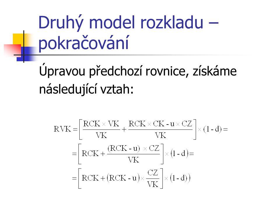 Druhý model rozkladu – pokračování Úpravou předchozí rovnice, získáme následující vztah: