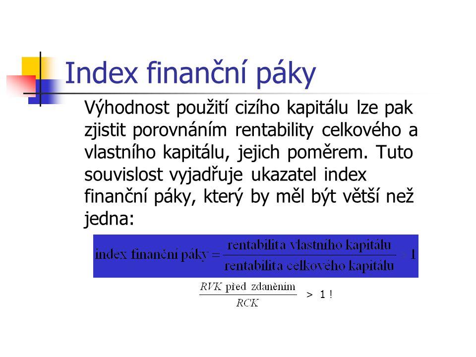 Index finanční páky Výhodnost použití cizího kapitálu lze pak zjistit porovnáním rentability celkového a vlastního kapitálu, jejich poměrem.