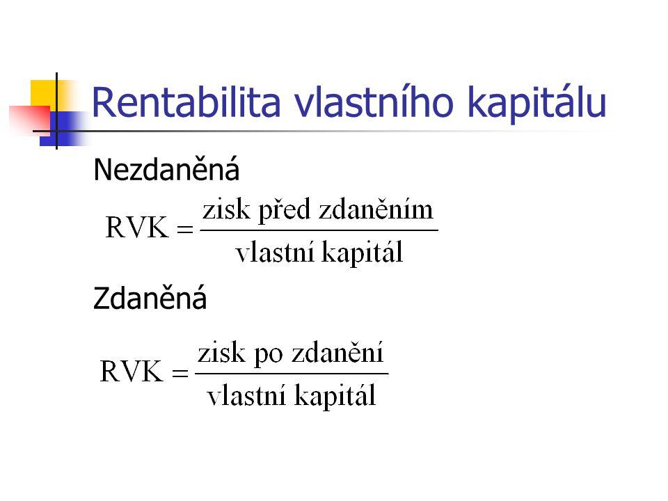 Kritéria hodnot rentability RCK ≥ u (úroková sazba z úročených cizích zdrojů) RCK ≥ WACC (vážený průměr nákladů kapitálu) RVK ≥ u (1 – d), tj.