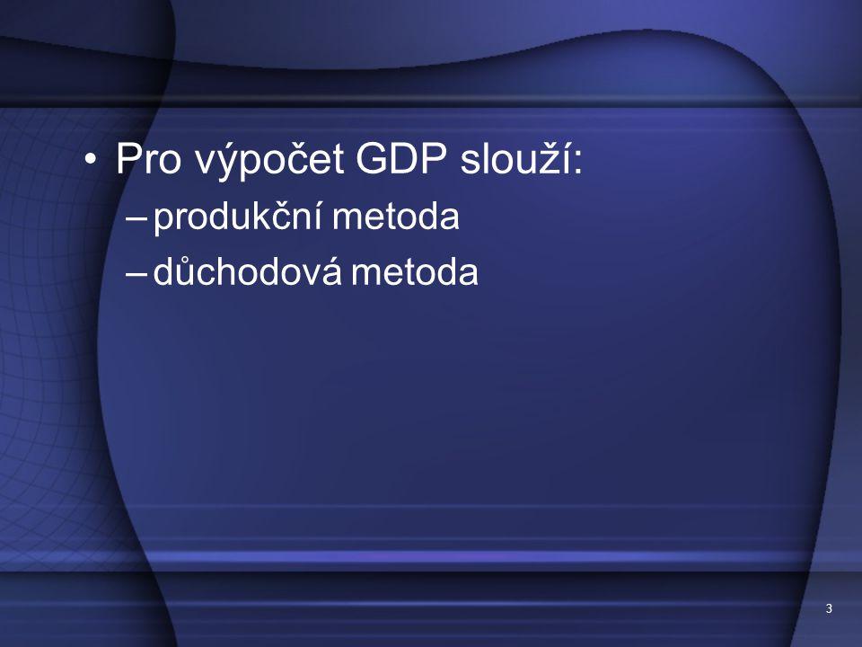 3 Pro výpočet GDP slouží: –produkční metoda –důchodová metoda