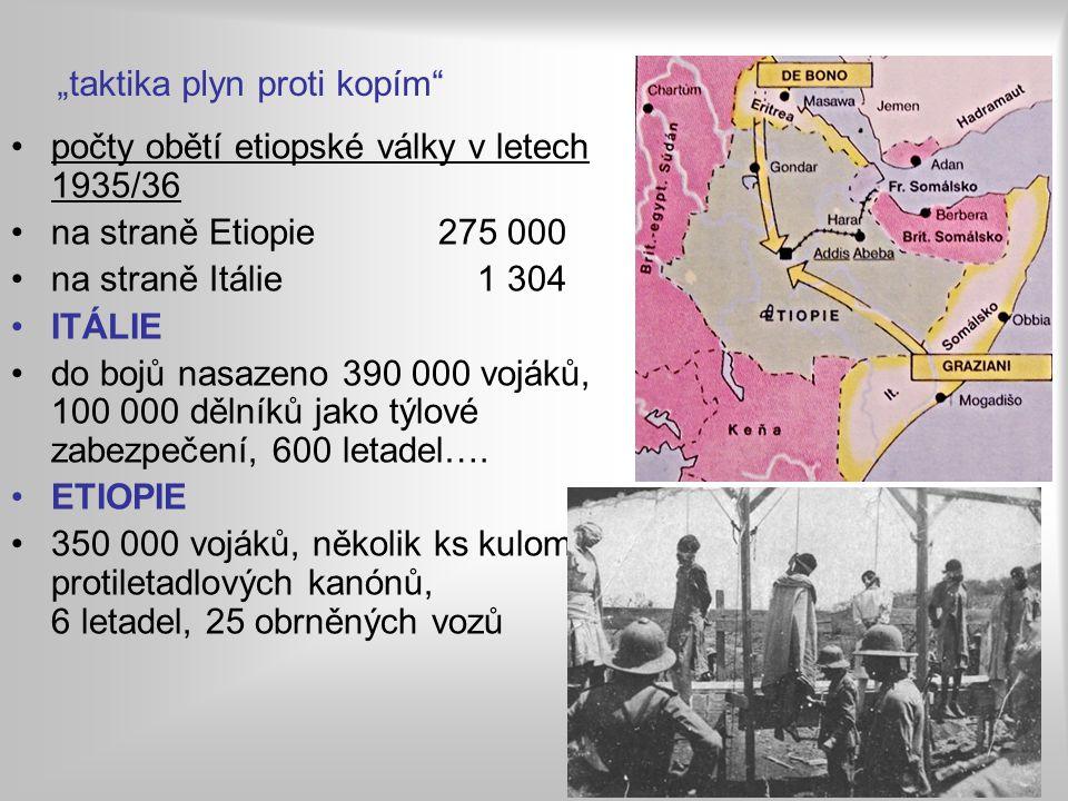 počty obětí etiopské války v letech 1935/36 na straně Etiopie275 000 na straně Itálie 1 304 ITÁLIE do bojů nasazeno 390 000 vojáků, 100 000 dělníků jako týlové zabezpečení, 600 letadel….