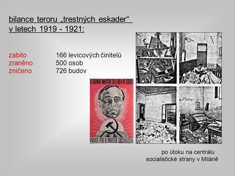 """po útoku na centrálu socialistické strany v Miláně bilance teroru """"trestných eskader v letech 1919 - 1921: zabito 166 levicových činitelů zraněno 500 osob zničeno 726 budov"""