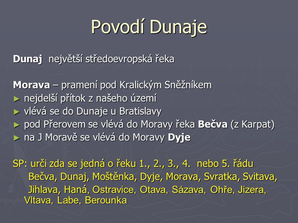 Povodí Dunaje Dunaj největší středoevropská řeka Morava – pramení pod Kralickým Sněžníkem ► nejdelší přítok z našeho území ► vlévá se do Dunaje u Brat