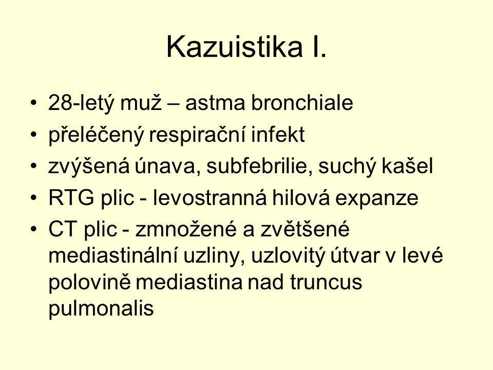 Kazuistika I. 28-letý muž – astma bronchiale přeléčený respirační infekt zvýšená únava, subfebrilie, suchý kašel RTG plic - levostranná hilová expanze