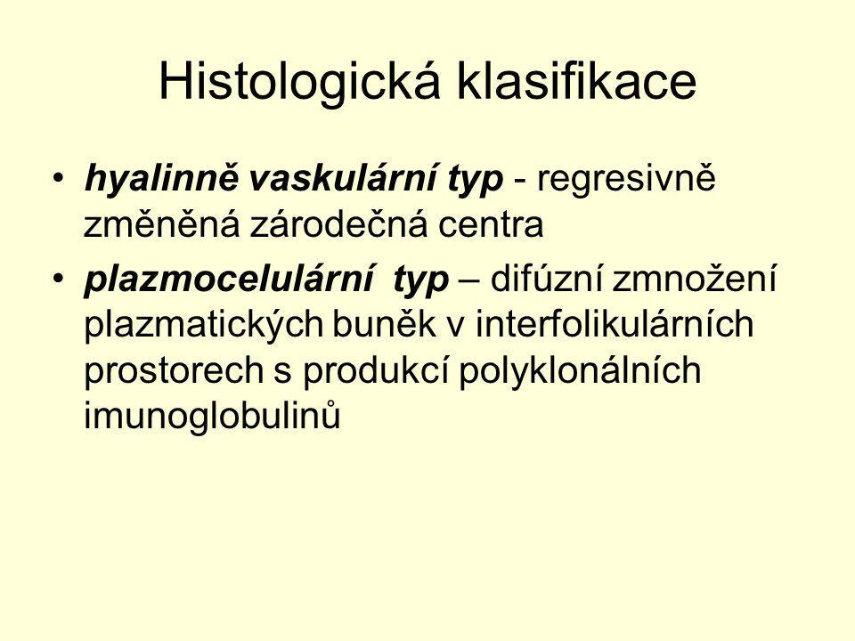 Histologická klasifikace hyalinně vaskulární typ - regresivně změněná zárodečná centra plazmocelulární typ – difúzní zmnožení plazmatických buněk v in