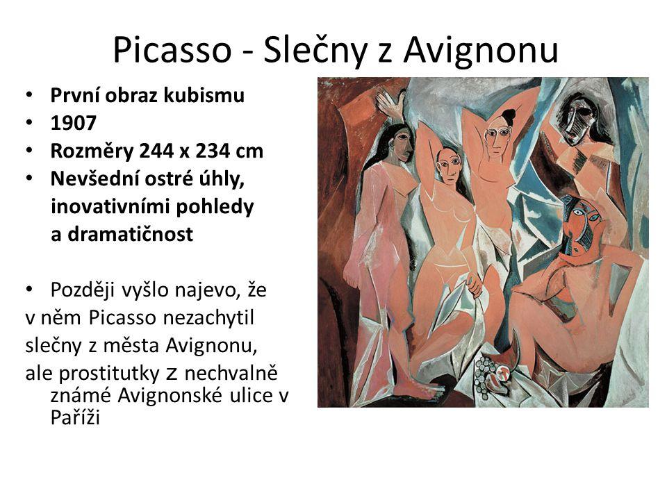 Poslední významný obraz kubismu 1937 - reakce na německé bombardování španělského městečka Guernica- symbolické zobrazení hrůzy války odstíny šedé zdůrazňují bezvýchodnost a tragedii osudů nevinných 1600 obětí Picasso - Guernica