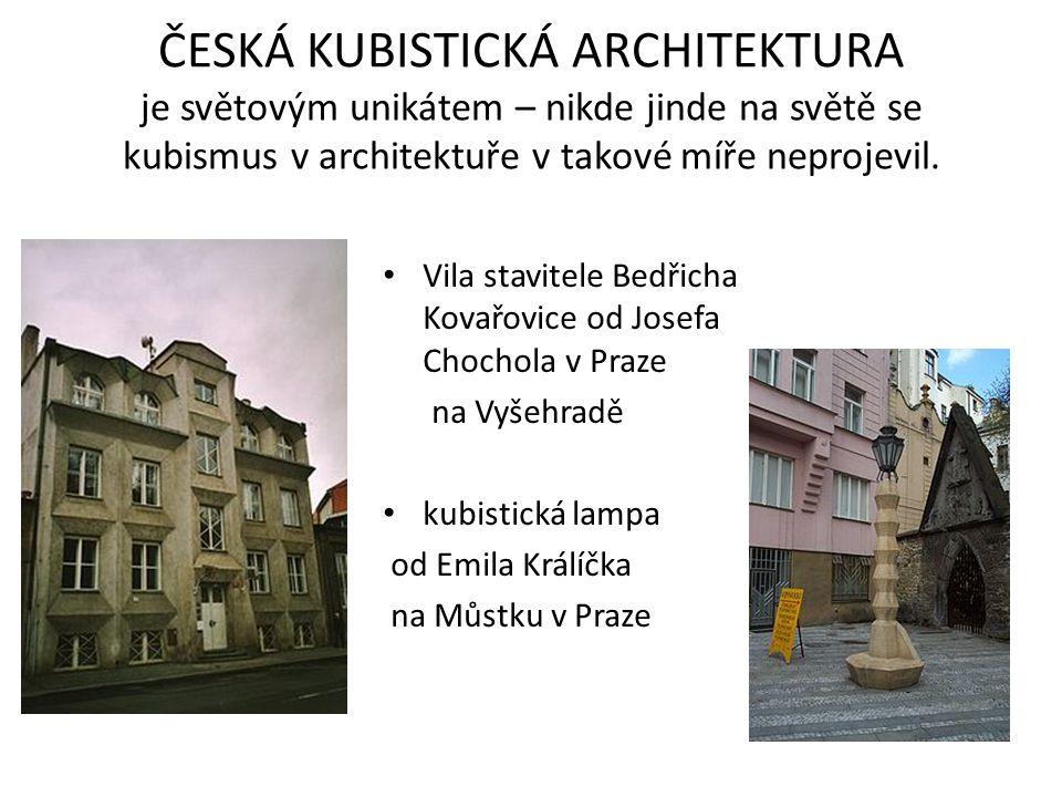 ČESKÁ KUBISTICKÁ ARCHITEKTURA je světovým unikátem – nikde jinde na světě se kubismus v architektuře v takové míře neprojevil. Vila stavitele Bedřicha