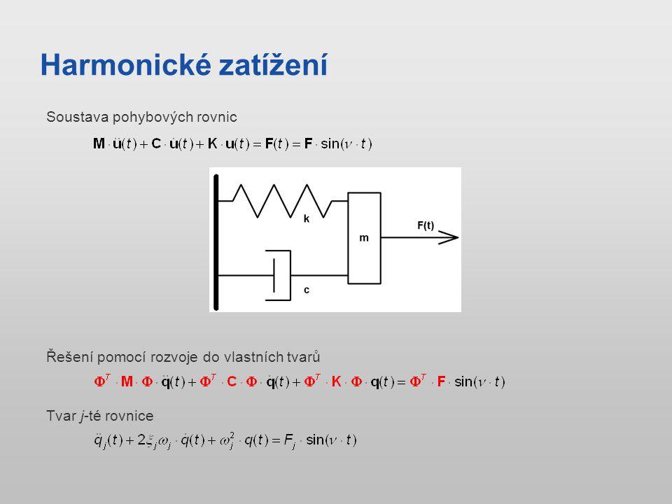 Harmonické zatížení Řešení pomocí rozvoje do vlastních tvarů Soustava pohybových rovnic Tvar j-té rovnice