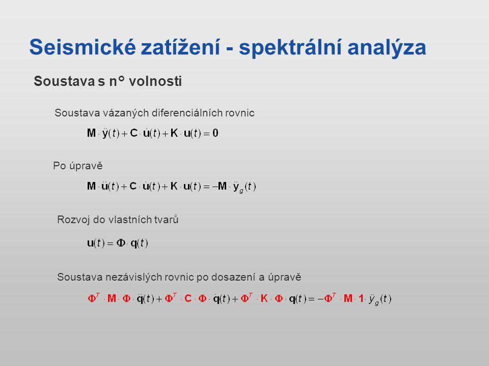 Seismické zatížení - spektrální analýza Soustava vázaných diferenciálních rovnic Po úpravě Soustava nezávislých rovnic po dosazení a úpravě Soustava s n° volnosti Rozvoj do vlastních tvarů