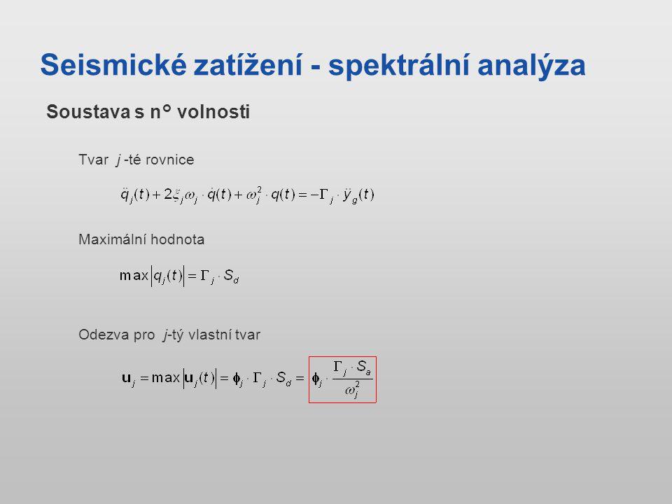 Seismické zatížení - spektrální analýza Tvar j -té rovnice Soustava s n° volnosti Maximální hodnota Odezva pro j-tý vlastní tvar