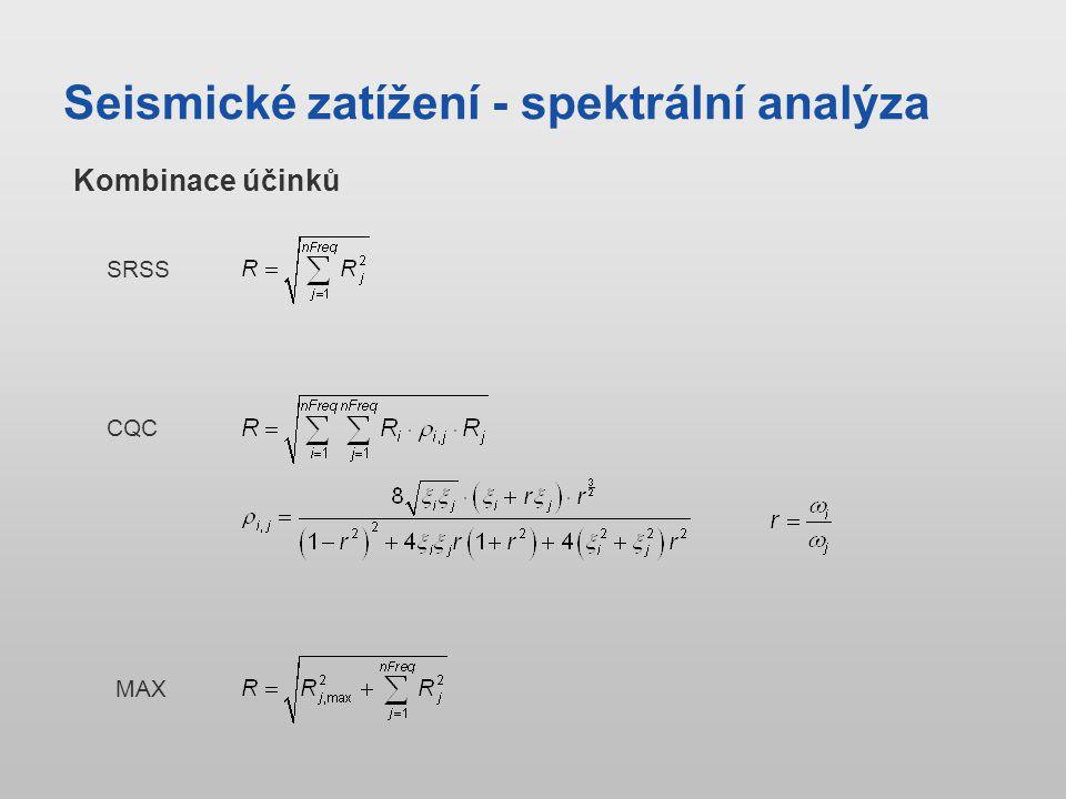 Seismické zatížení - spektrální analýza SRSS CQC MAX Kombinace účinků