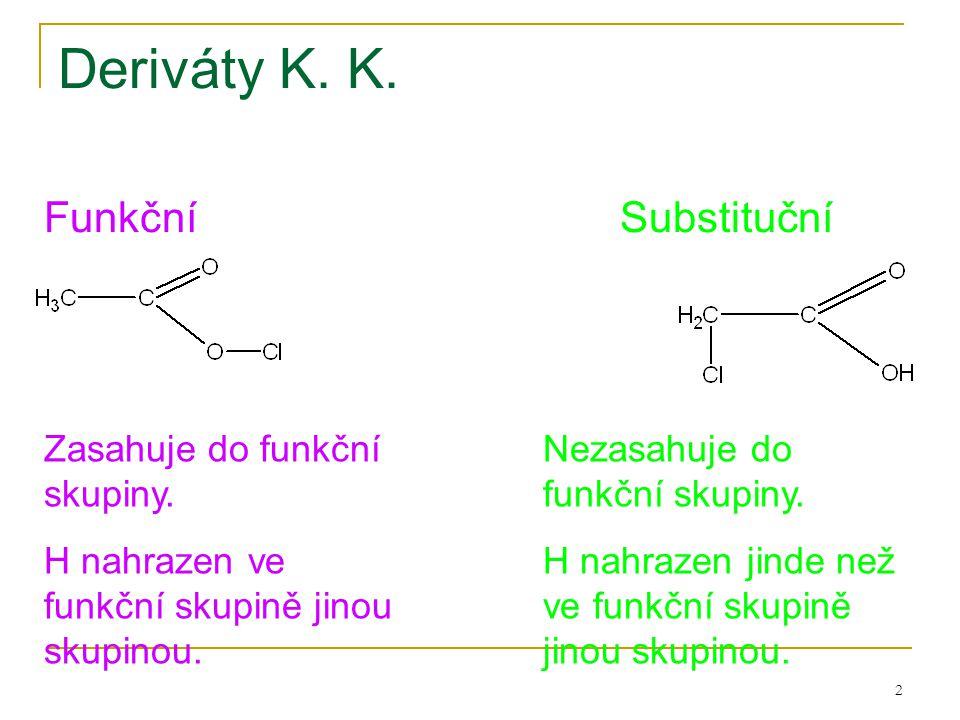 2 Deriváty K. K. FunkčníSubstituční Zasahuje do funkční skupiny. H nahrazen ve funkční skupině jinou skupinou. Nezasahuje do funkční skupiny. H nahraz