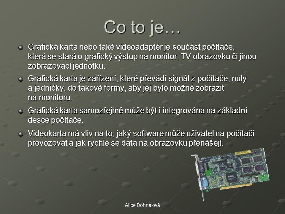 Alice Dohnalová Co to je… Grafická karta nebo také videoadaptér je součást počítače, která se stará o grafický výstup na monitor, TV obrazovku či jino