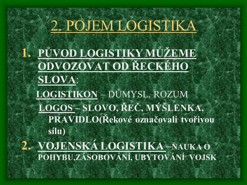 2. POJEM LOGISTIKA 1. PŮVOD LOGISTIKY MŮŽEME ODVOZOVAT OD ŘECKÉHO SLOVA: LOGISTIKON – DŮMYSL, ROZUM LOGOS – SLOVO, ŘEČ, MÝŠLENKA, PRAVIDLO(Řekové ozna