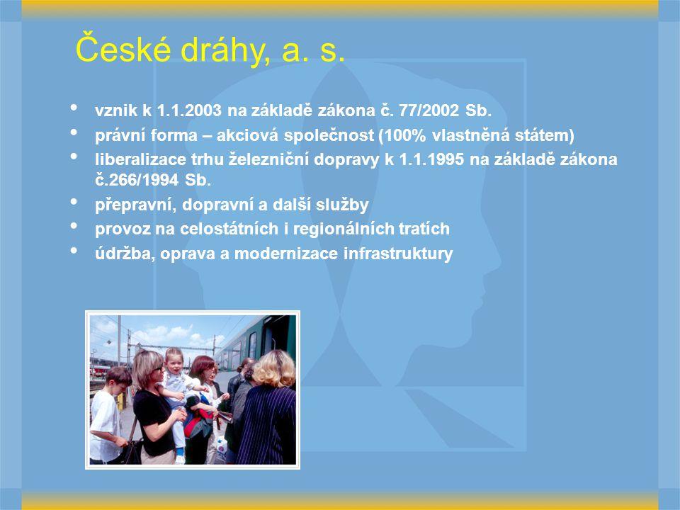 České dráhy, a.s. vznik k 1.1.2003 na základě zákona č.