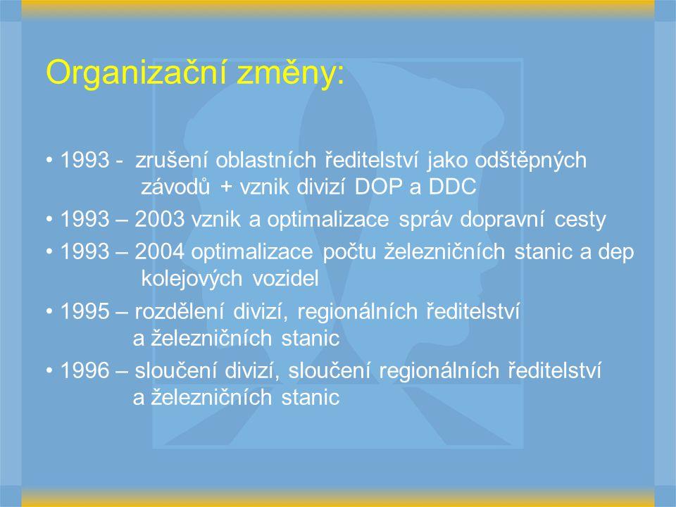 Organizační změny: 1993 - zrušení oblastních ředitelství jako odštěpných závodů + vznik divizí DOP a DDC 1993 – 2003 vznik a optimalizace správ dopravní cesty 1993 – 2004 optimalizace počtu železničních stanic a dep kolejových vozidel 1995 – rozdělení divizí, regionálních ředitelství a železničních stanic 1996 – sloučení divizí, sloučení regionálních ředitelství a železničních stanic