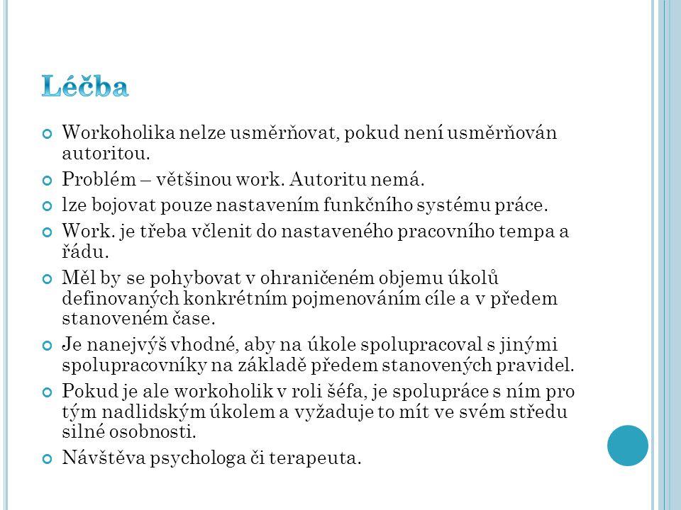 Workoholika nelze usměrňovat, pokud není usměrňován autoritou. Problém – většinou work. Autoritu nemá. lze bojovat pouze nastavením funkčního systému