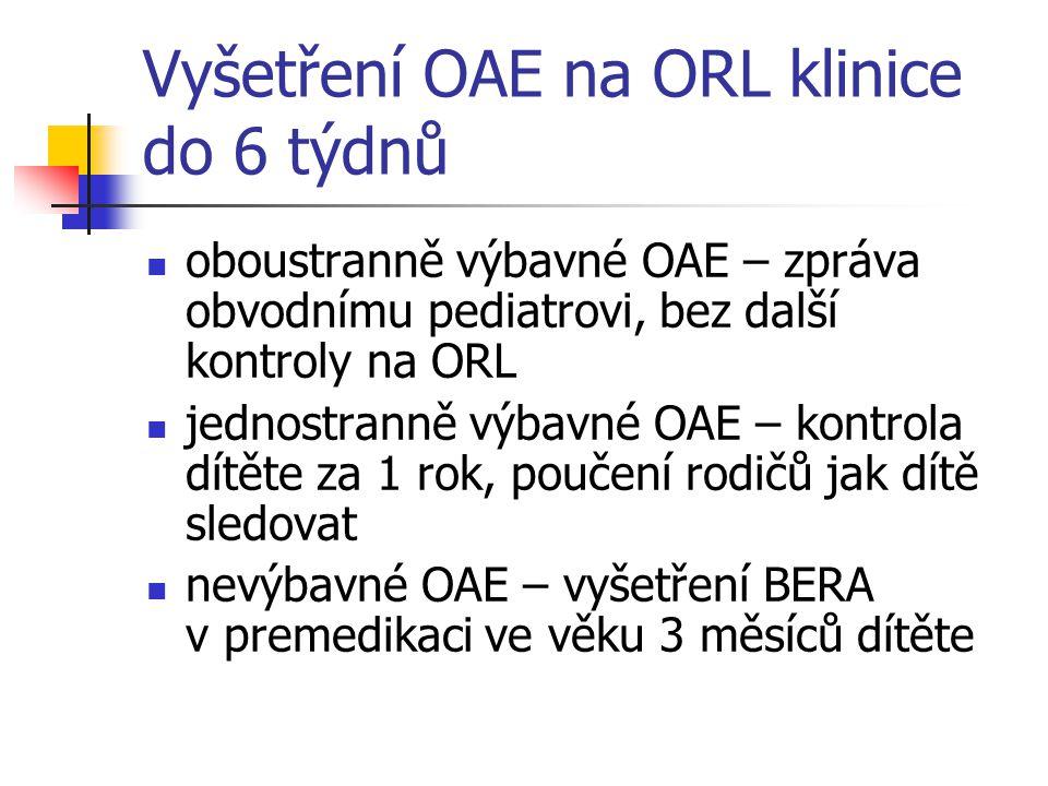 Vyšetření OAE na ORL klinice do 6 týdnů oboustranně výbavné OAE – zpráva obvodnímu pediatrovi, bez další kontroly na ORL jednostranně výbavné OAE – ko