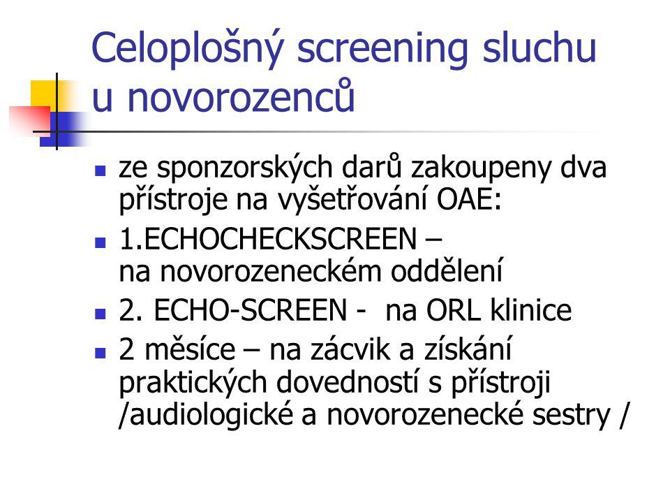 Celoplošný screening sluchu u novorozenců ze sponzorských darů zakoupeny dva přístroje na vyšetřování OAE: 1.ECHOCHECKSCREEN – na novorozeneckém odděl